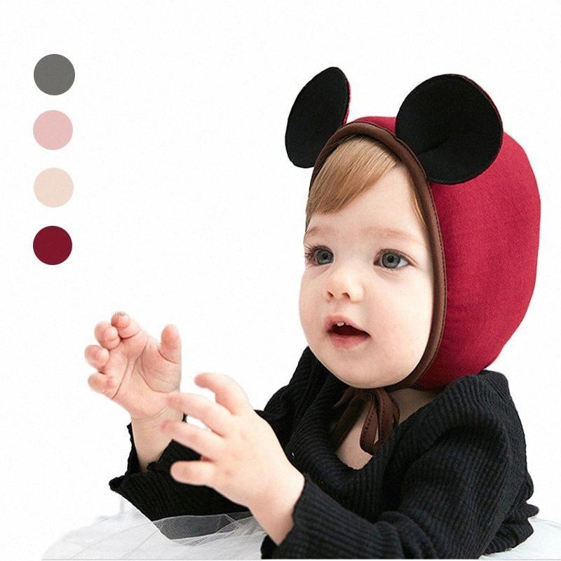 Nuovo arrivo bambino ricopre sveglio 3d mouse orecchie Ragazza infantile cotone cappelli del fumetto bello morbido Beanie Bonnet Con L'orecchio di accessori jass #