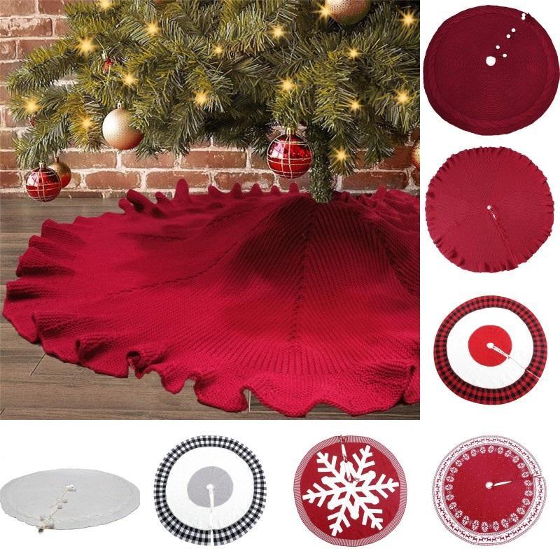 Falda de punto árbol de Navidad de 48 pulgadas Borgoña punto grueso de Navidad decoración del árbol de Navidad Año Nuevo partido de los ornamentos DHD760