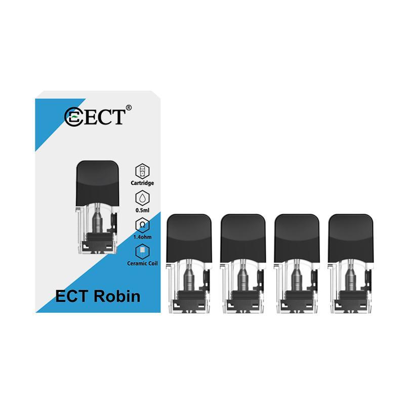 4pcs / pack ECT Robin Pod cartouche pour la capacité de cigarettes Robin Pod Vape 1.3 / 1.4ohm cartouches Fit J