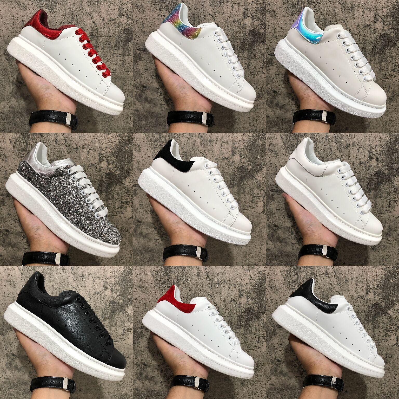 2020 zapatos para hombres Mujeres Plataforma de moda Zapatillas de deporte Triple Negro Blanco Cuero Suede Para hombre Cómodo Plano Piso Zapato