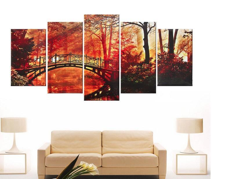 Roter Baum Leinwand-Wand-Kunst-Brücke Leinwand Red Wald Moderne Kunst Wandbilder für Schlafzimmer Badezimmer Wohnzimmer