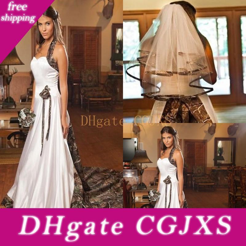 2015 Robe de mariée Camo plus Veils Vintage Fashion Custom Made train chapelle bon marché Robes de mariée avec longueur du coude nuptiaux Veisl TWP Piece