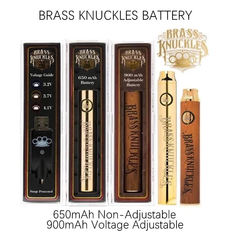 Brass Knuckles batteria BK 650mAh 900mAh Vape Batteria legno Vape Pen VV Variable Voltage 510 Discussione batteria per Thick Oil