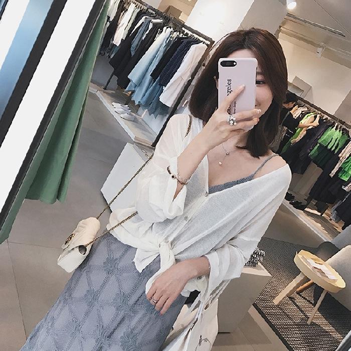 skkqU filtro solar xale tudo saia de verão cardigan exterior fina camisa solta gelo seda Brasão pequena saia curta coreano estilo de comprimento médio das mulheres
