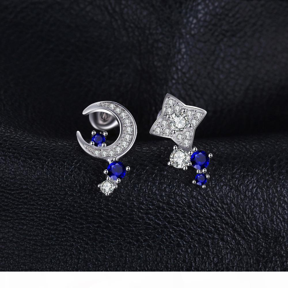 Wholesale-Moon & Star Created Sapphire Stud Earrings 100% Real 925 Sterling Silver Fine Accessories Simple Jewelry Y18110110