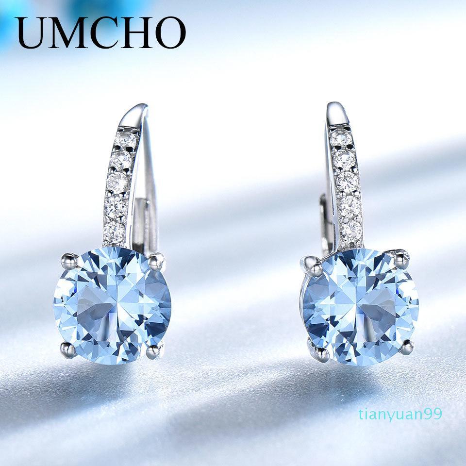 Venta caliente UMCHO joyería de plata sólido 925 Ronda Creado Nano topacio azul cielo pendientes de clip para las mujeres regalos de cumpleaños encantos joyería fina