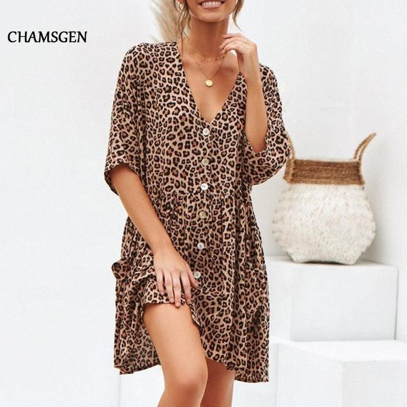 CHAMSGEN Femmes Robe Été Automne Taille Plus Bouton Leopard Mode sexy de Splice manches demi longueur au genou Casual Robes F519 QOKN #