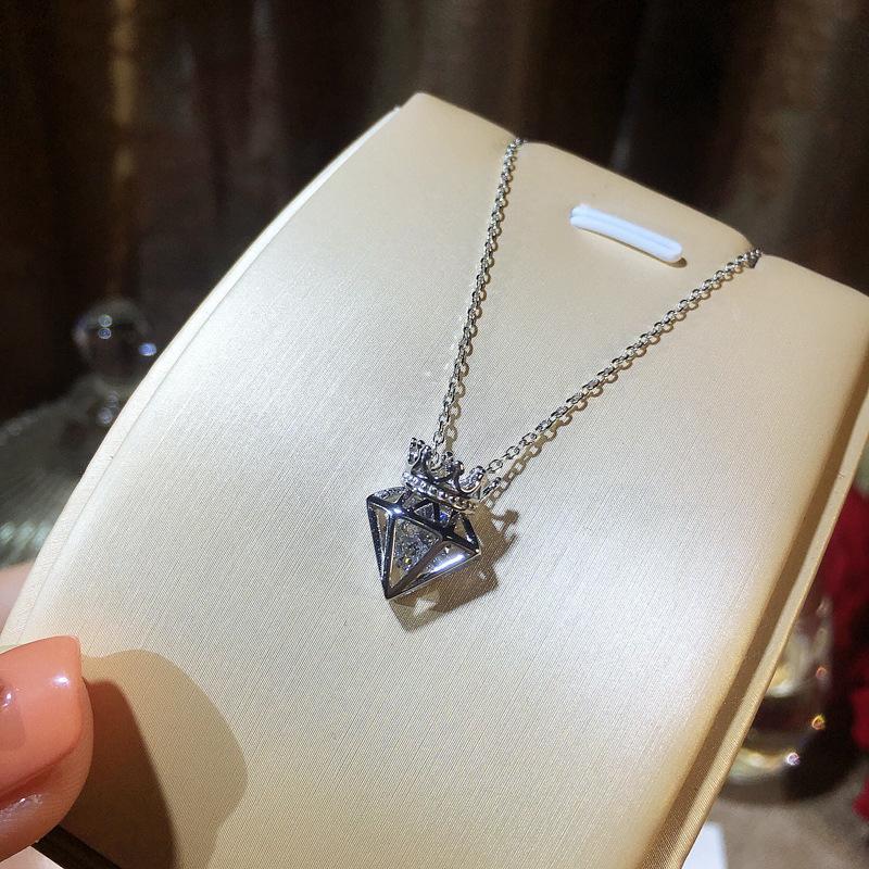 Moda donna Dichiarazione Collana Personalità Semplice Pendente Crown Corona Vendita calda Real 925 Collana in argento sterling