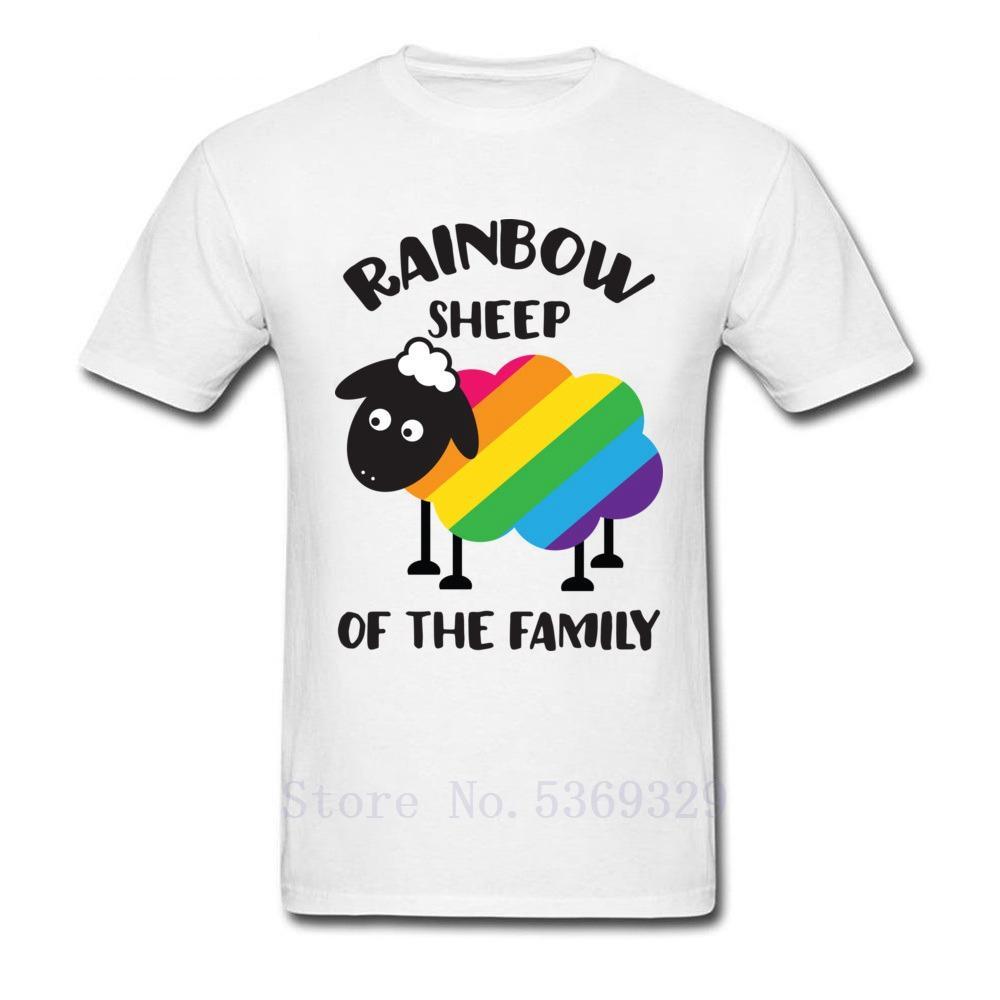 Mignon T-shirt arc-en-mouton du T-shirts personnalisés Famille Hommes animal drôle personnalisés Hauts T-shirts de loisirs pour garçon