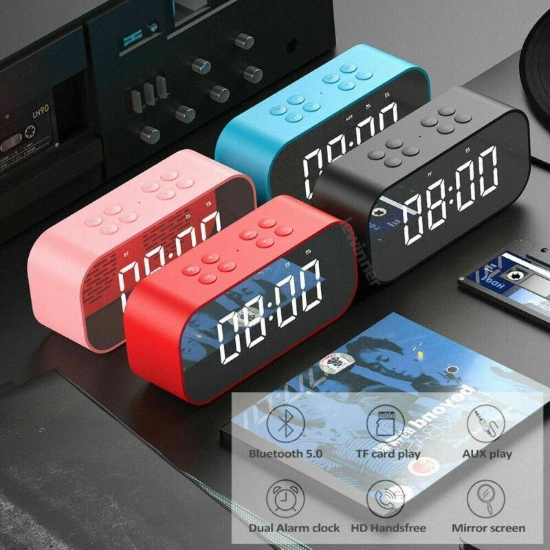 Laute Bluetooth-Lautsprecher Kabellos Stereo-Extra-Bass-Lautsprecher Wecker-Radio-MP3-Player-Spiegel-LED-Digital-Wecker Hot jK7F #