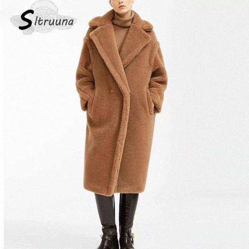 Sitruuna Frauen-Winter-Pelz-warme lange Mantel-Vintage-Langarm Female Thick Teddybär-Mantel-beiläufige lose Aufmaß Outwears SCRW #