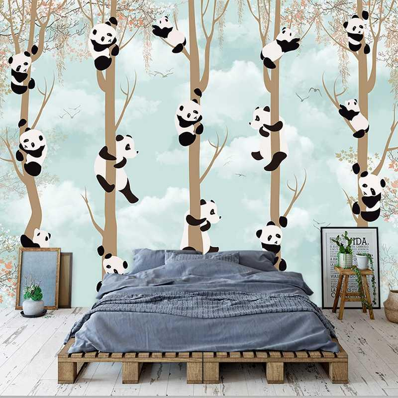 Custom 3D Photo Wallpaper Cartoon Panda Abstract Tree Wall Painting Living Room Children Room Bedroom Mural Wallpaper Home Decor