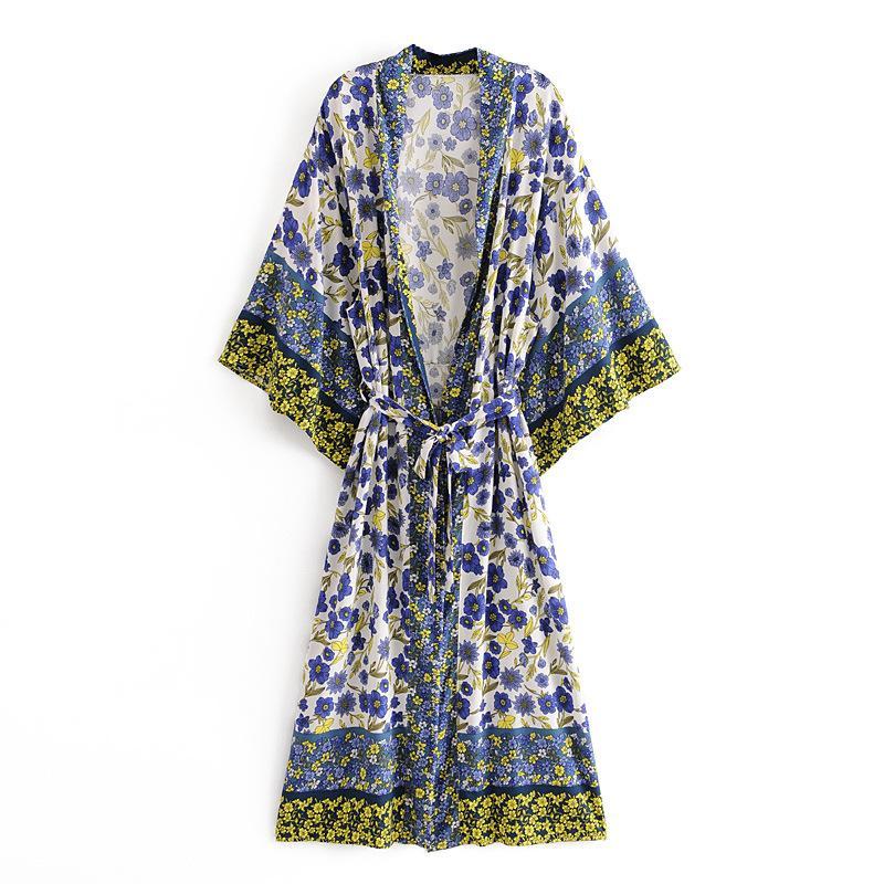 Ayualin Kimono Robe Robe Donne Camicette Camicie Vintage Cotton Stampa floreale Summer Cardigan Boho Beach Bikini Cover Up Vestidos Tunica