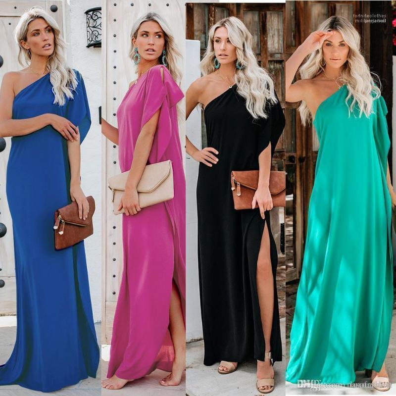 Kleid beiläufige Art und Weise Sommer-Kleider Soild Farbe eine Schulter Kleider Lotus Sleeve Split Asymmetrische Knöchel-Längen-Bohemian