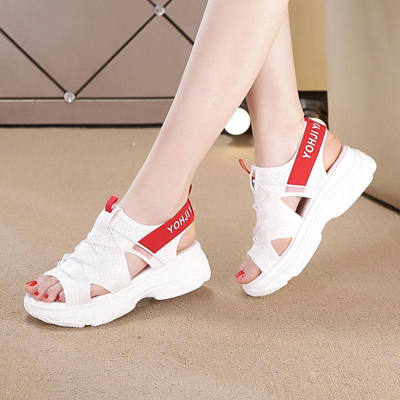 Modische vorne offen Sport Sandalen elastisch mit weißen klobigen dicken Sohlen Plattformschuhe 2020 Sommer Schuhe der neuen Frauen 35-40 Y200620