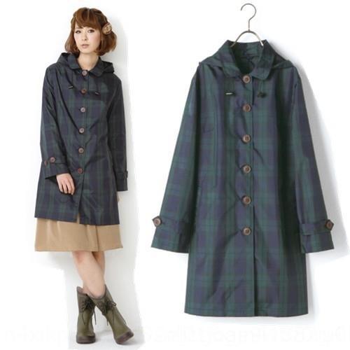 Mode à carreaux vert imperméable léger imper-coréen et japonais Voyage vêtements verts mode vêtements imperméables portable