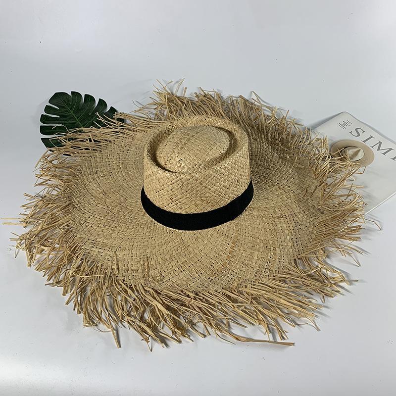 Женщины Лето соломенной шляпе Брим Широкий 20см плетеная ВС Hat Панама Бич Шляпы женские Мягкая Стро Shade H28