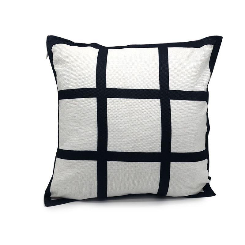 9 panel de cubierta de la almohadilla en blanco sublimación Almohada caso rejilla negro tejida de poliéster de transferencia de calor amortiguador de la cubierta de tiro sofá fundas de almohada 40 40cm *