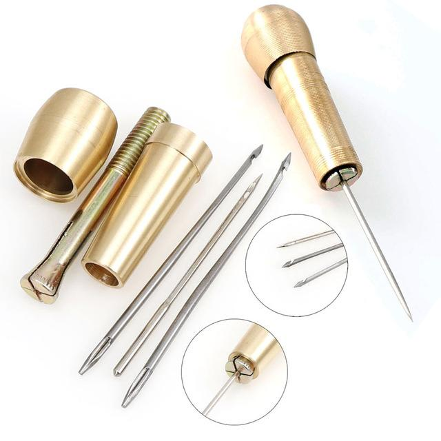 Home & Garden 1 Set Copper Handle Awl Shoes Repair Tool Leather Canvas Shoe Repair Tool Hand Stitching Leather Craft Needle Kit