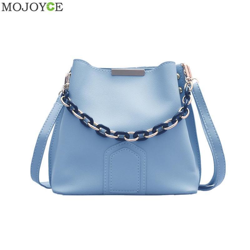Leather Simple Female Daily Solid Bag PU Casual Women Popular Shoulder Bag Female Bucket Chain Crossbody Pouch Qmdmb