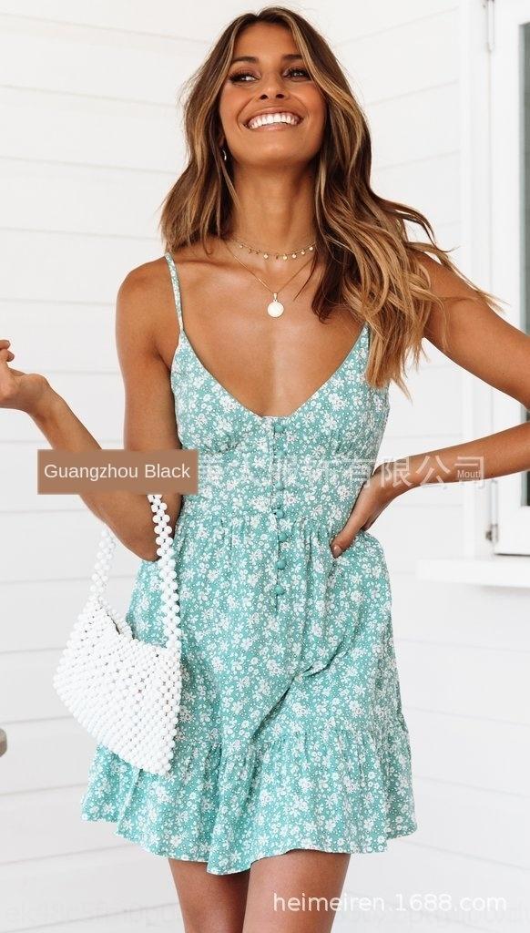 qVeVT JaPt0 2019 Nouvelle jupe jarretelle floral femmes écharpe bouton V-cou tout match imprimé petite fronde jupe robe jarretelle mode