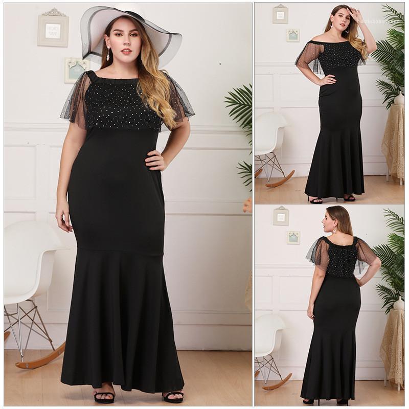 Manga casual Vestidos para mujer ropa más el tamaño de las lentejuelas con paneles de vestidos de moda de Slash cuello del color sólido de los vestidos de la mitad