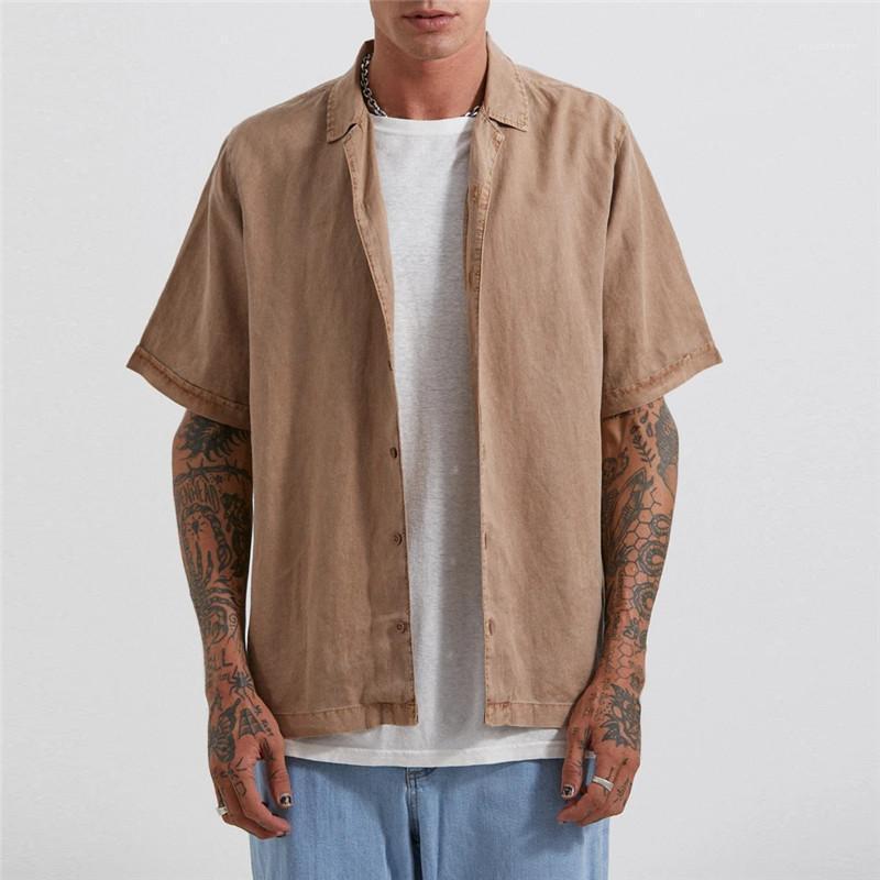 Vêtements Mens Summer Designer Shirt Casual Couleur Solide Revervoir à manches courtes Chemise en vrac Nouvelle Mens