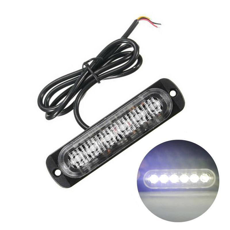 1x White 6 LED Slim 12V 24V 24LED Strobe Light Car Moto Trucks LED Side Marker Lamps Flashing Warning Light Bulbs Lamps