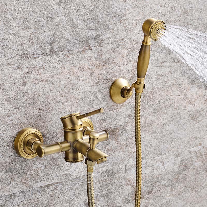 Bronze antigo banheiro torneira do chuveiro quente frio Mixer guindaste Tap Wall Mount Latão bambu material conjunto de banho