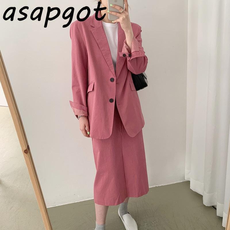 Два куска платья юбка подходит для пиджака Ретро свободное повседневное пальто Женщины Сплошная высокая талия средняя длина хлопчатобумажная белье