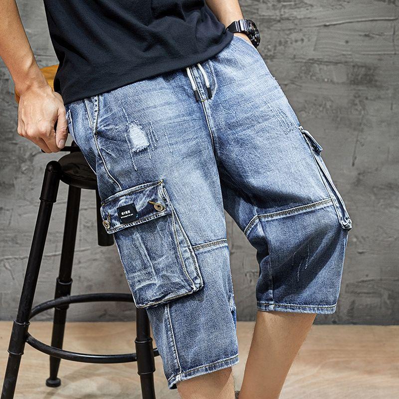 2020 verano nuevos cordones de los pantalones rectos ocasionales de gran tamaño flojo y pantalones cortos y shorts hombres de mezclilla pantalones capri pantalones