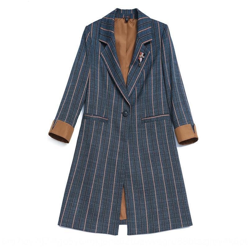 Piccolo vestito per le donne 2020 di temperamento di modo allentato primavera e in autunno giacca giacca stile New coreano vestito a strisce casuale di media lunghezza i6CQT i6