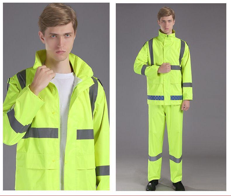 Движение обязанность флуоресцентный зеленый отражающий раскол универсальный костюм флуоресцентный комплект взрослый дождевик строительство дорог верхом плащ костюм