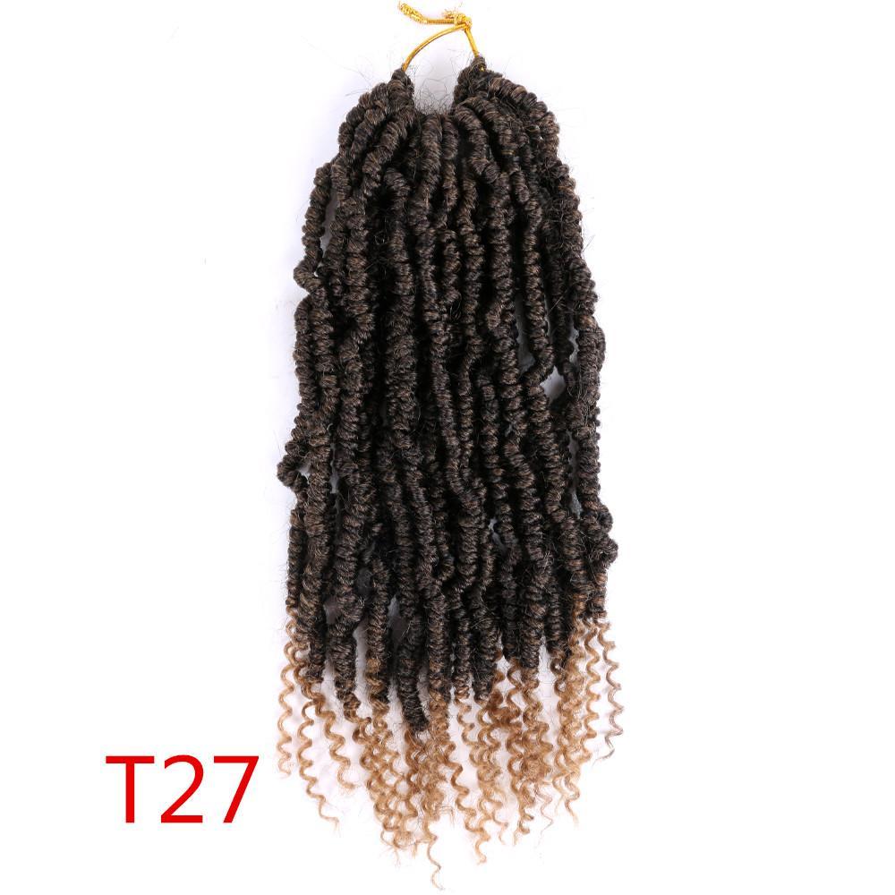 Crochet synthétique ressort Bombe Twist cheveux avant tordu 12 pouces Bombe Twist synthétique Fluffy Pré en boucle Passion Twist Crochet Tresses 60g / pc