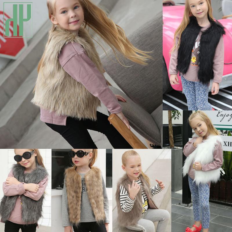Toddler Kids Girls Faux Fur Vest Gilet Winter Waistcoat Coat Bodywarmer Jacket