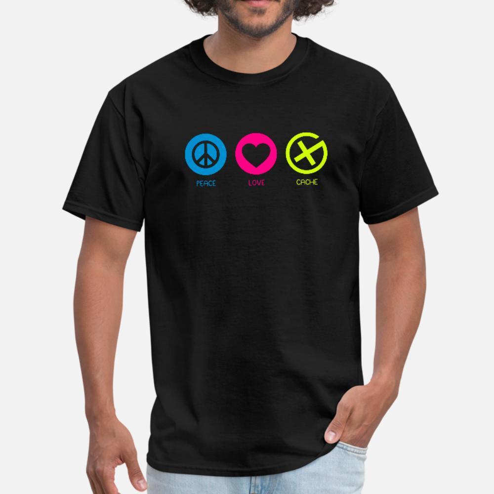 Geocaching Peace Love Cache T-Shirt Männer personalisierten T-Shirt-O Ansatz männlichen netten beiläufigen Frühling dünnes Hemd