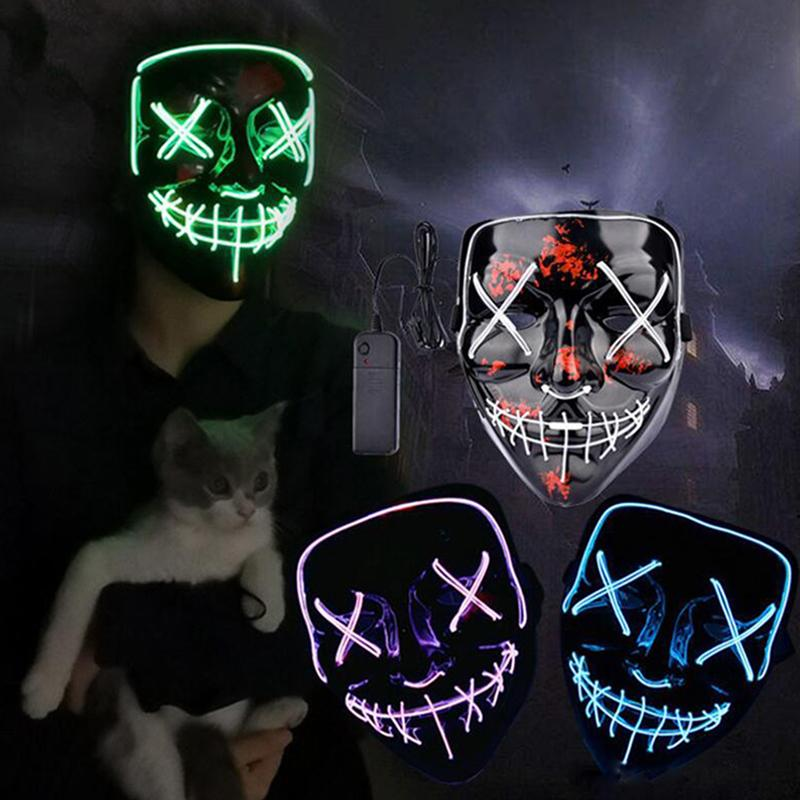 Halloween Horror mask LED Glowing masks Purge Masks Election Mascara Costume DJ Party Light Up Masks Glow In Dark 10 Colors Free Shipping