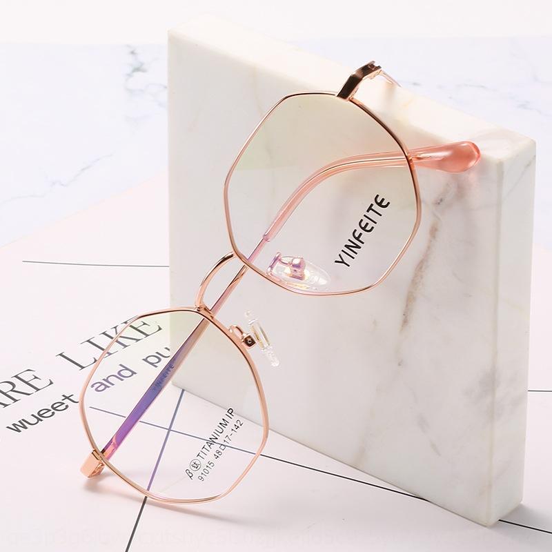 IKqic Сверхлегкого чистого титан Близорукость женских близорукостей очки кадр многоугольник литературные простые очки 91015