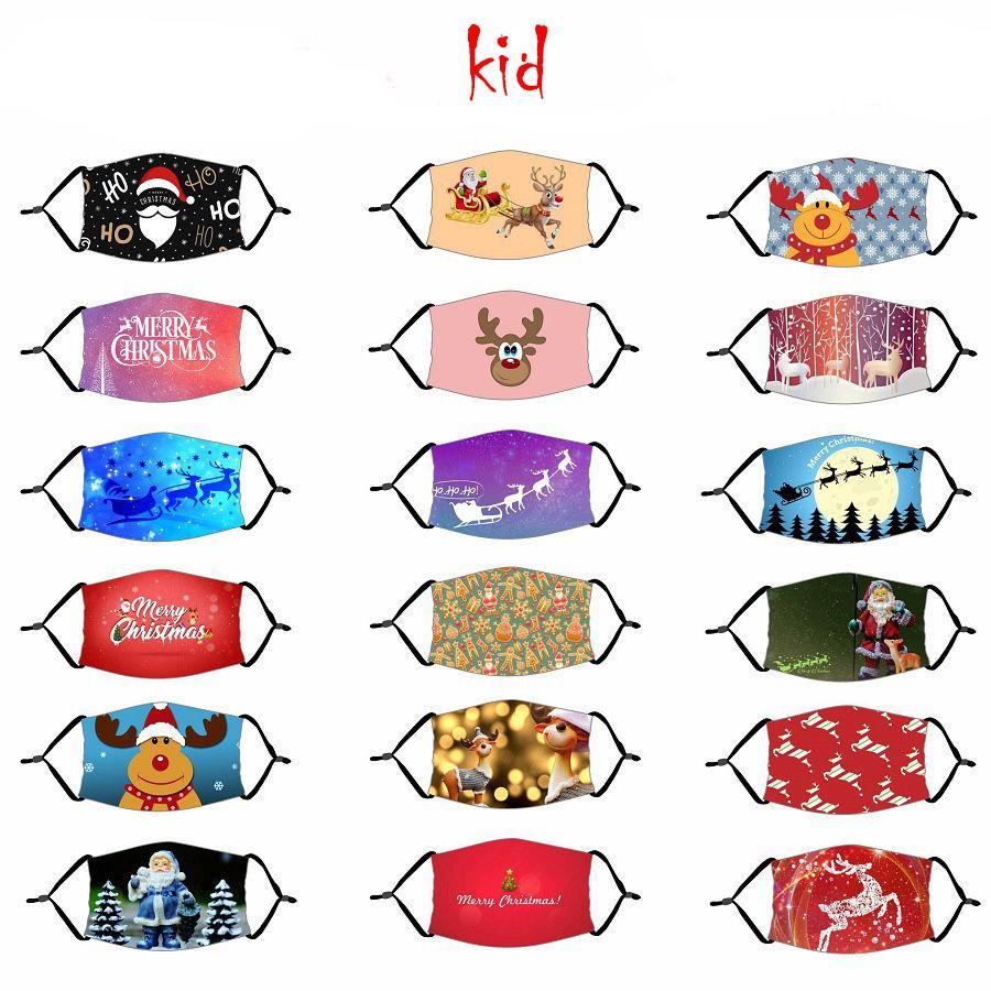 Kids Christmas Mask Santa Claus Christmas Deer Digital Printing Mask Adjustable Xmas Printed Kids Face Mask OOA8437