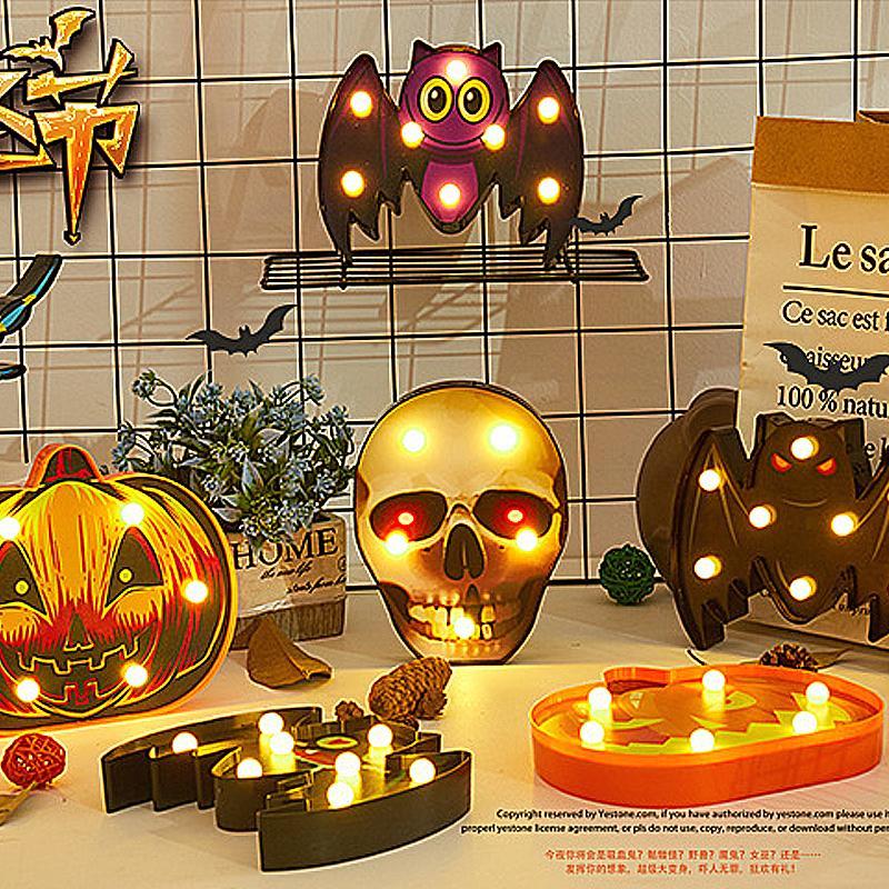 Forma Halloween luz LED engraçado Plastic Aranha Bat Crânio abóbora Night Light para decorações de parede da tabela da festa de Halloween