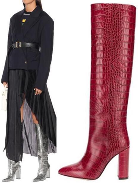 Hiver New Woman Crocodile Imprimer Python carré Talons Pointu Slip Toe sur le genou haut à long Bottes Chevalier Bottes Jaune Rouge Noir