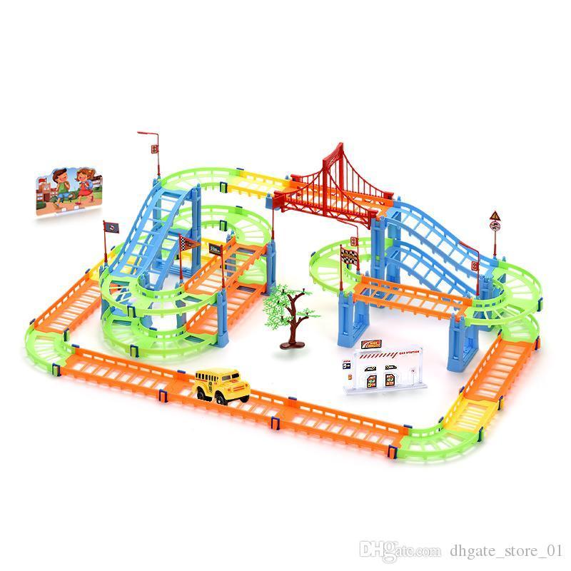 102pcs City Building Blocks Rall Car Children Diy Assembly Build Circular Toys Inspire Imagination Design Various Shape Transport Rail 02