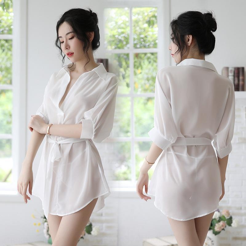 L'été des femmes sexy longue en mousseline de soie pyjama Sous peignoir pyjama chemise sous-vêtements sexy style coréen chemise usure peignoir chemise de nuit transparente