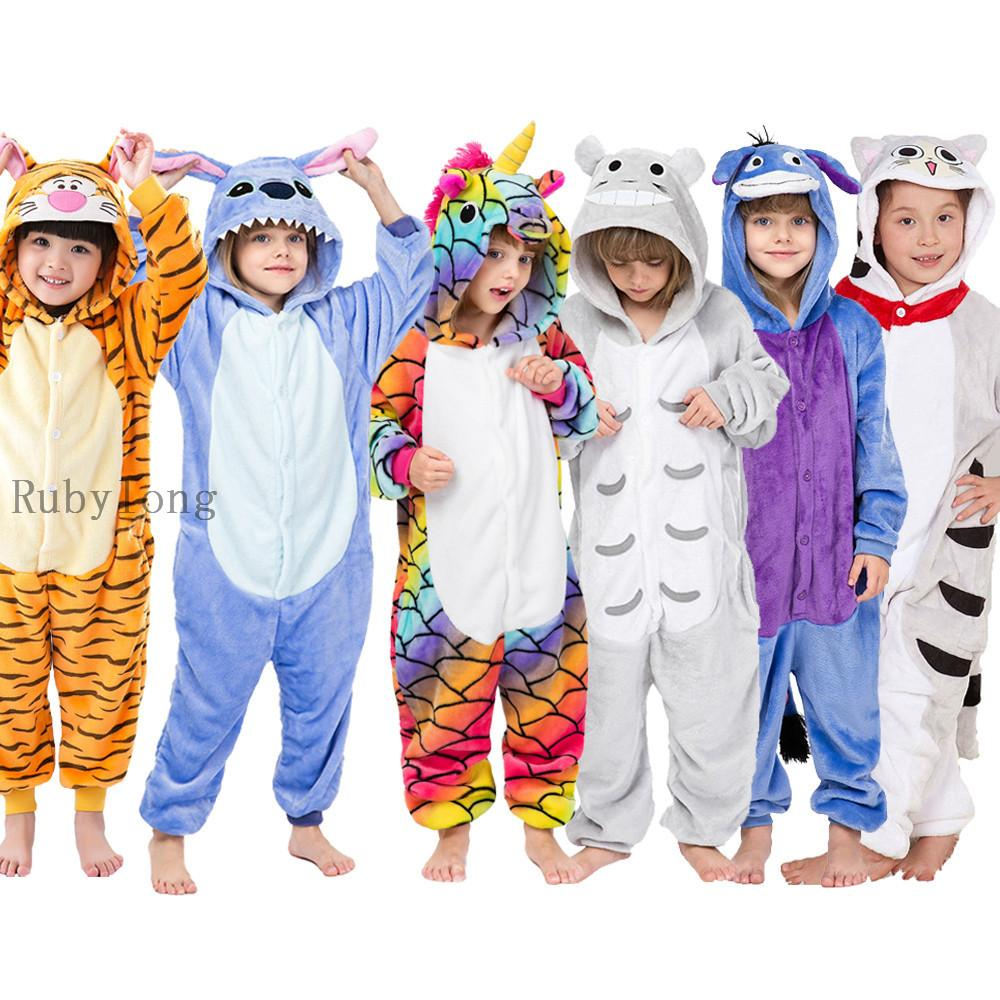 Kigurumi-Mädchen-Jungen Onesies Kinder Winter Onesies Unicorn Cartoon Anime Tier Pyjamas Nachtwäsche Overall Kinder Blanket Sleepers 200922