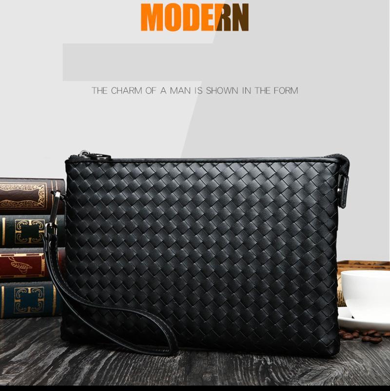 حقيبة جلدية الرجال الحياكة الحياكة الفاصل حقيبة حقائب الكتف محفظة يدوية حقيبة يوم براثن حقائب ذكر المحافظ الكبيرة