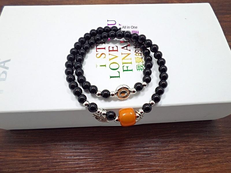 S408 Amethyst schwarz Achat niedliche Kätzchen kleine Fische Biene mehrschichtige Kristall Kristall Armband Achat Armband Armband niPIV
