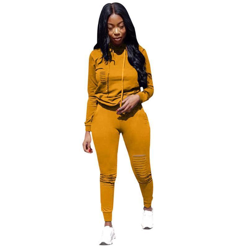 Ragazze Giallo Felpa Plus Size 3XL incappucciato con cappuccio vestito a due pezzi delle donne stabilite Outfits pista da jogging femminile serie 2 tute Pant