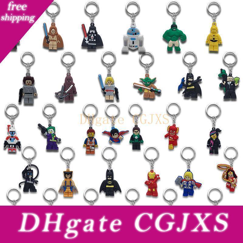 Catene Super Hero chiave di metallo Cute Cartoon molle del supporto portachiavi del PVC Anime figura Keychain Accessori auto Ornamenti -Free Dhl