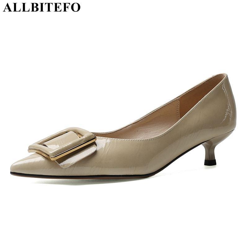 ALLBITEFO couro genuíno cheio fivela sensuais saltos altos partido mulheres sapatos femininos sapatos de salto alto saltos finos senhoras escritório