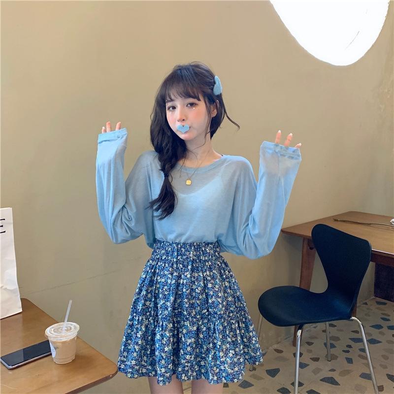 T-shirt leve e fino Fada eyOI6 perspectiva all-jogo sol à prova de T-shirt de manga comprida + saia floral cintura elástica